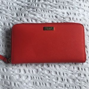 Kate spade red zip wallet