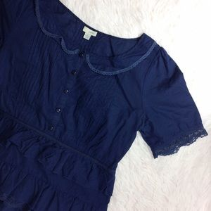 ANTHROPOLOGIE blue peterman neck tiered top