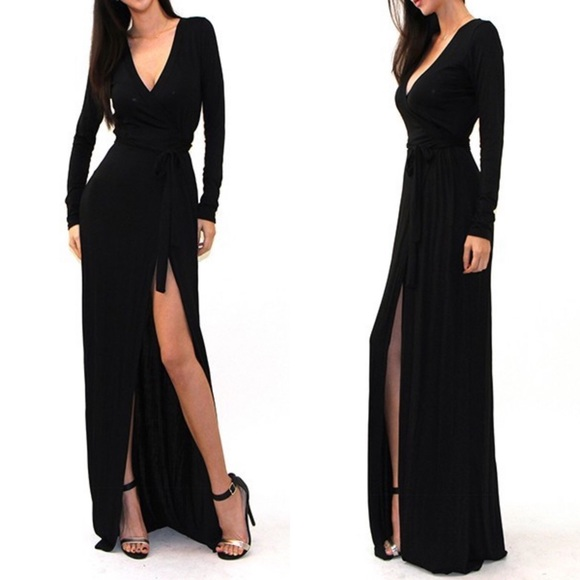 b7111b0452c57 Black Side Slit Long Sleeve Wrap Maxi Dress