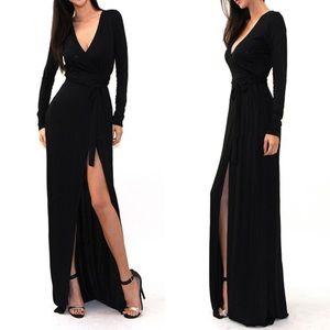 🎉LAST ONE🎉 Black Side Slit Wrap Maxi Dress
