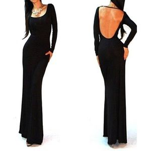 Black Long Sleeve Open Scoop Backless Maxi Dress