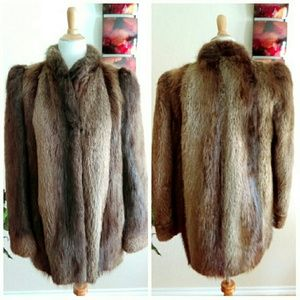 Vintage Long Hair Golden Beaver Fur Coat