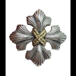 """Jewelry - Fleur De Lis Sterling silver 18k gold 1.5"""" brooch"""