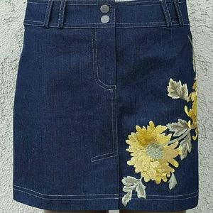 Cynthia Steffe Dresses & Skirts - Denim Floral Embroidered Skirt