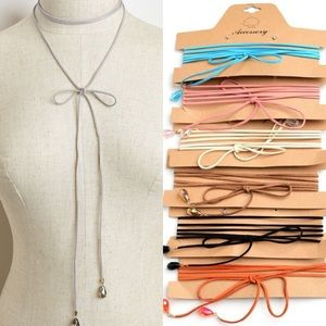 Boutique Jewelry - Assorted Colors Bow Ribbon Tie Choker Necklace