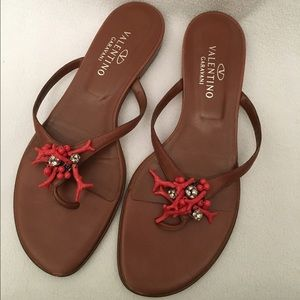 Valentino Shoes - Valentino Coral tan Leather Sandals
