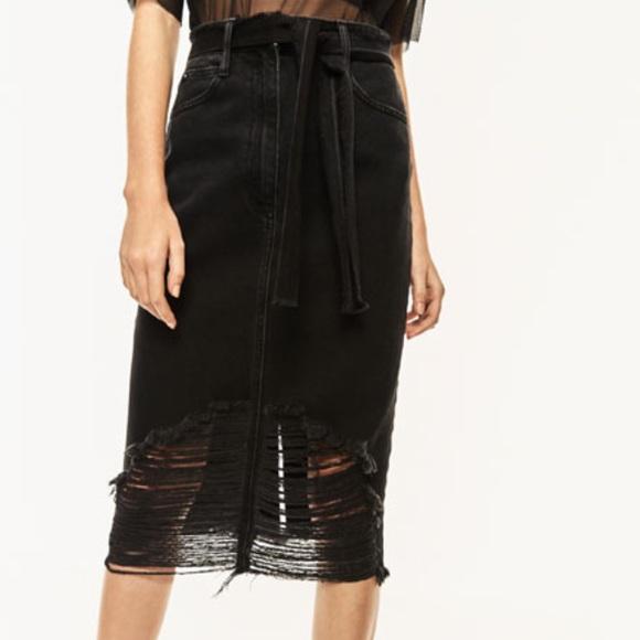 54% off Zara Dresses & Skirts - Black denim distressed skirt! from ...
