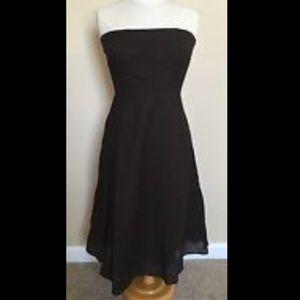 J Crew Black Strapless Swing Midi Dress 14 Texture