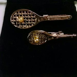Vintage Set of tennis rackets with pearl ball pins