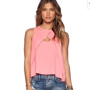 NWT  Free People Look Through Top Coral