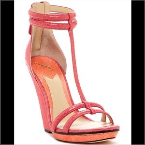 B Brian Atwood Shoes - Brian Atwood Leather Snakeskin Print Wedge Sandals