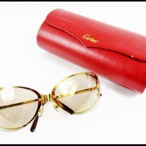e8767fa434 Cartier Rimless Black Gold Square Sunglasses