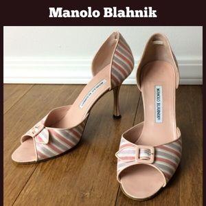 Manolo Blahnik Shoes - Manolo Blahnik Sateen Stripe PeepToe D'Orsay Style