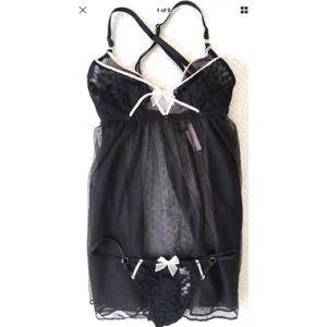 Victoria's Secret Black Pink crossbody Nightie  S