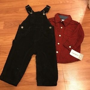 Carters red and black overalls