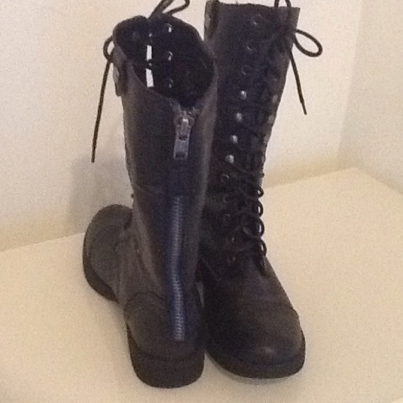 71% off Madden Girl Shoes - Trendy Madden Girl Black Combat Boots ...