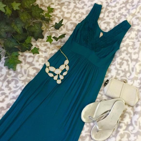 c8a8a3d45ed ModCloth Gilli Teal Jersey Maxi Dress. M 5884c506a88e7d980a003f13
