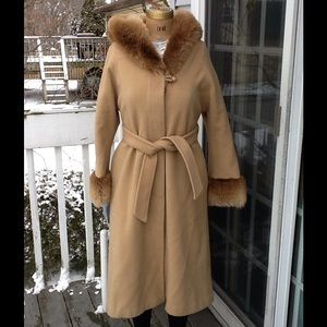 Vtg 60s/70s Camel Wool & Faux Fur Hooded Coat