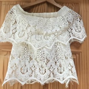 White crochet off the shoulder top.