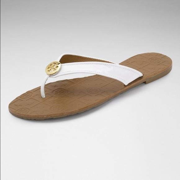 d1f1be6ec2cca Tory Burch Thora Sandals flip flops white patent 9.  M 5890aa836a5830dff4005222