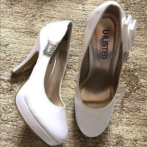 Unlisted Shoes - White satin heels