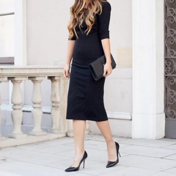 fashion style distinctive design luxury aesthetic ZARA Basic black pencil midi skirt with back slit