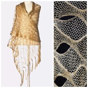 Accessories - B46 Gold Metallic Open Weave Mermaid Scarf