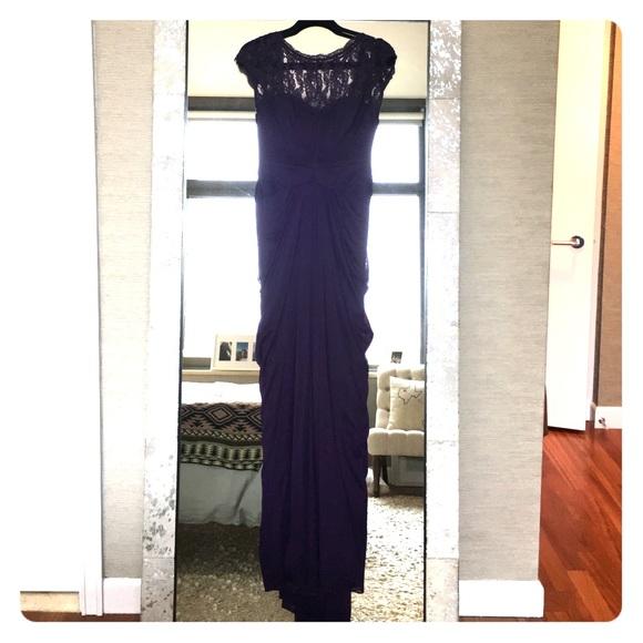 Adrianna Papell Dresses   Lace Yoke Drape Gown Aubergine   Poshmark