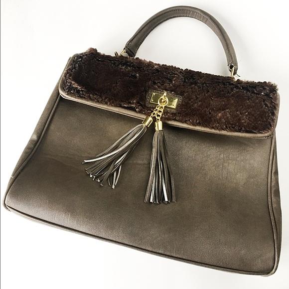 407c226df4 Aldo Handbags - Aldo Brown Fur Tassel Handbag Crossbody Purse