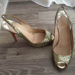 Christian Louboutin Shoes - Christian Louboutin gold glitter high heels