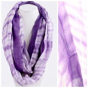 Accessories - B50 Purple & White Tie Dye Infinity Scarf