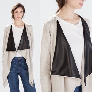Zara Jacket Coat with Faux Leather Lapel