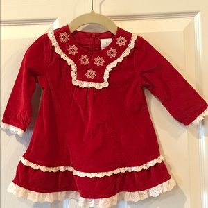 Hanna Andersson Red Snowflake Dress Size 70 6-12 M