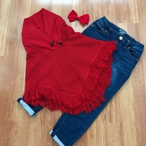 Chillipop Other - 🎉HOST PICK🎉Girls Red Pancho Sweater