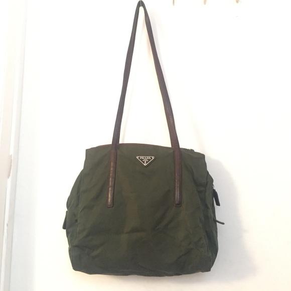 81ba08f56f24 Vintage authentic Prada Olive green nylon bag. M 5884ed67d14d7bee2e0f90d6