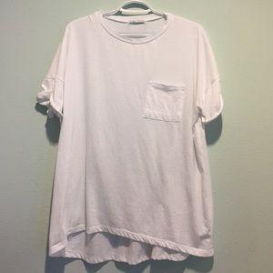 Zara TNF Oversized White Tee w/ Pocket