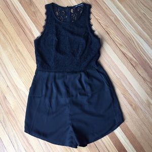 Foreign Exchange Pants - Black Lace Romper