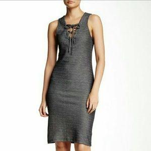 Grey jersey material midi dress