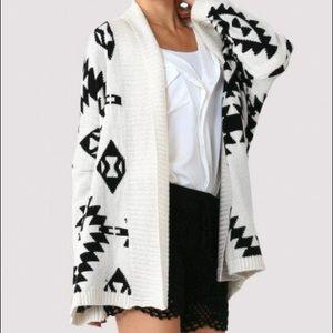 Sweaters - Open front Aztec print Cardigan