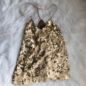 Nasty gal sequins gold tone top size Medium