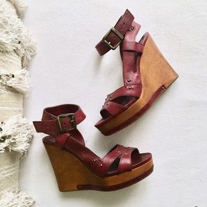 Chloe Shoes - CHLOE Wooden Platform Leather Wedge Sandals