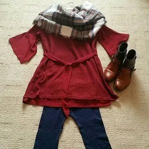 Miilla Clothing Tops - ### 3/$18 Cold-Shoulder Burgundy Tunic/Dress