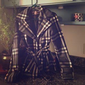 YMI Jackets & Blazers - YMI belted black & white & gray plaid coat