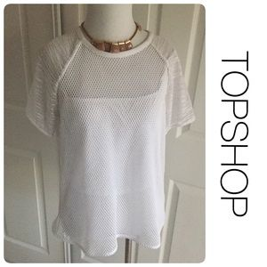Topshop Tops - TOPSHOP white mesh and mixed material top size 8