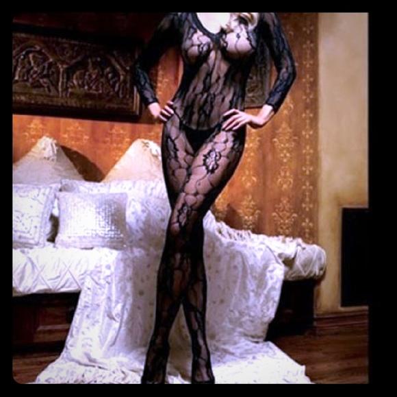c570daa8738 Romantic Rose Lace Long Sleeve Bodystocking