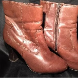 A.N.A brown leather ankle boots 7 1/2 W