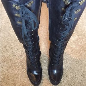 Black Leather Ralph Lauren Knee Length Boots