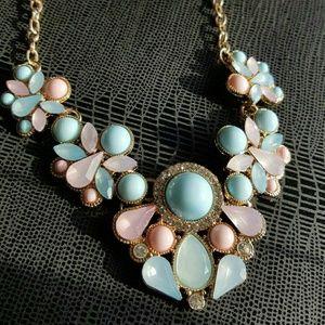 Jewelry - Blush and Powder Blue Statement Necklace