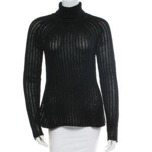 Derek Lam Sweaters - Derek Lam Black Open Knit Wool Turtleneck Sweater