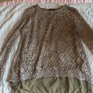 Brown and army green sequin top